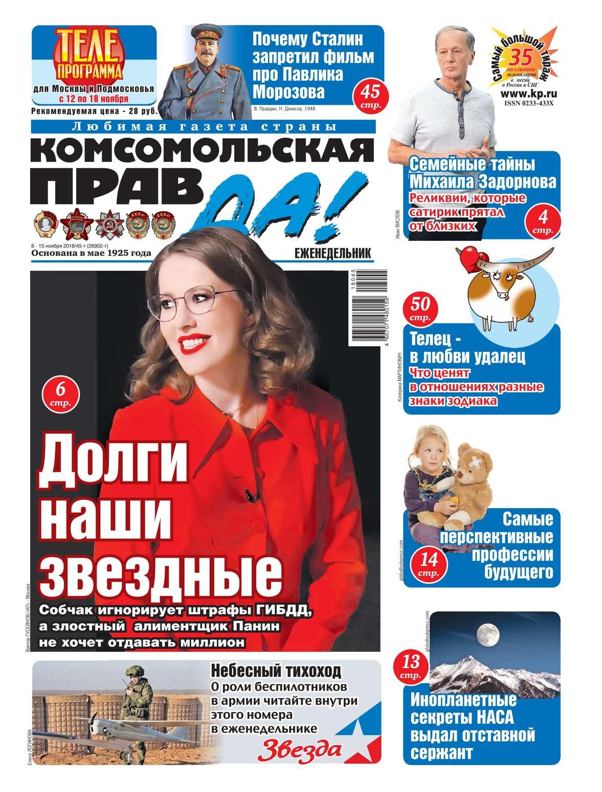Комсомольская Правда (толстушка – Россия) 45т-2018