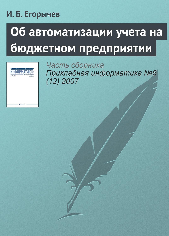 И. Б. Егорычев Об автоматизации учета на бюджетном предприятии